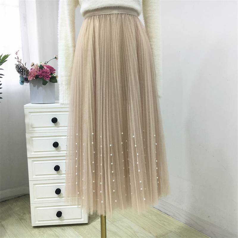 HTB1cTRUPb2pK1RjSZFsq6yNlXXaj - New Spring Summer Skirts Womens Beading Mesh Tulle Skirt Women Elastic High Waist A Line Mid Calf Midi Long Pleated Skirt