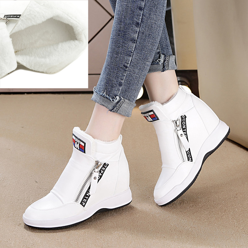 SWYIVY Winter Fur Sneakers Platform Woman 2018 Autumn High Top Female Casual Shoes Wedge Side Zipper Fashion Warm Snow Sneakers