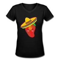 Rouge Piment Avec Chapeau Femmes Tops T-shirts 2017 D'été nouveau Coton V Cou À Manches Courtes t-shirt Femme Tendances De la Mode vêtements