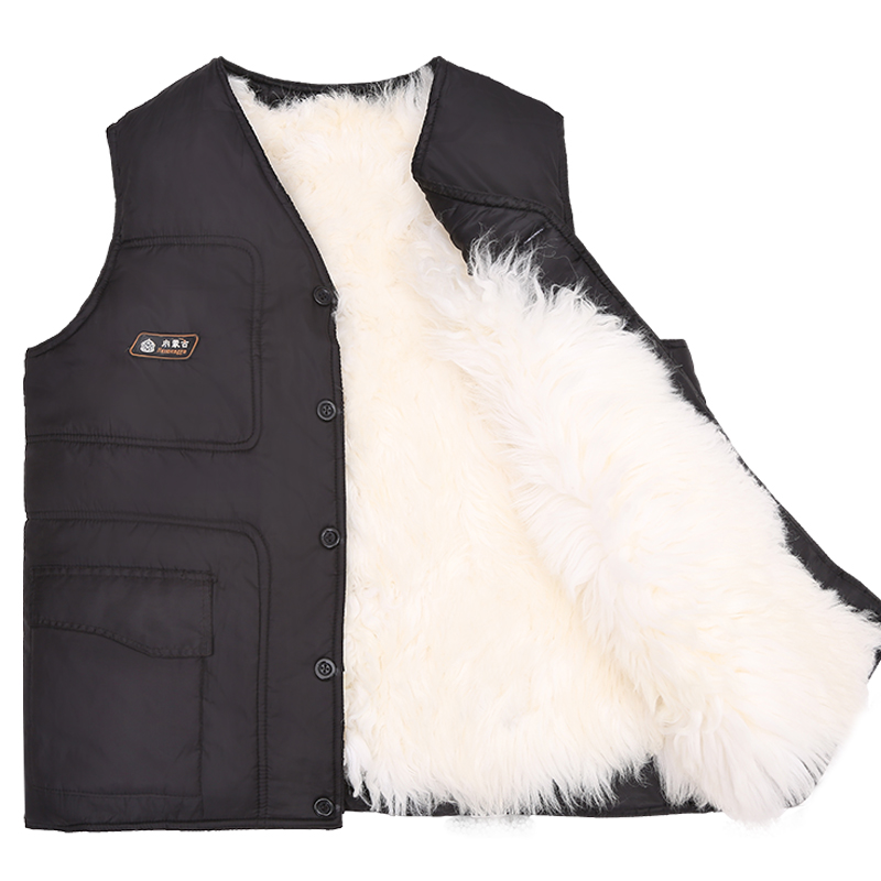 Man Autumn Plus Size Solid Sleeveless V-neck Sheepskin Fur Thick Down Parkas Male Winter Oversized Loose Warm Fur Down Jackets