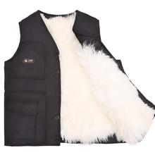 Купить с кэшбэком Man autumn plus size Solid Single Breasted V-neck sheepskin fur thick down parkas male winter loose warm fur down jackets D35