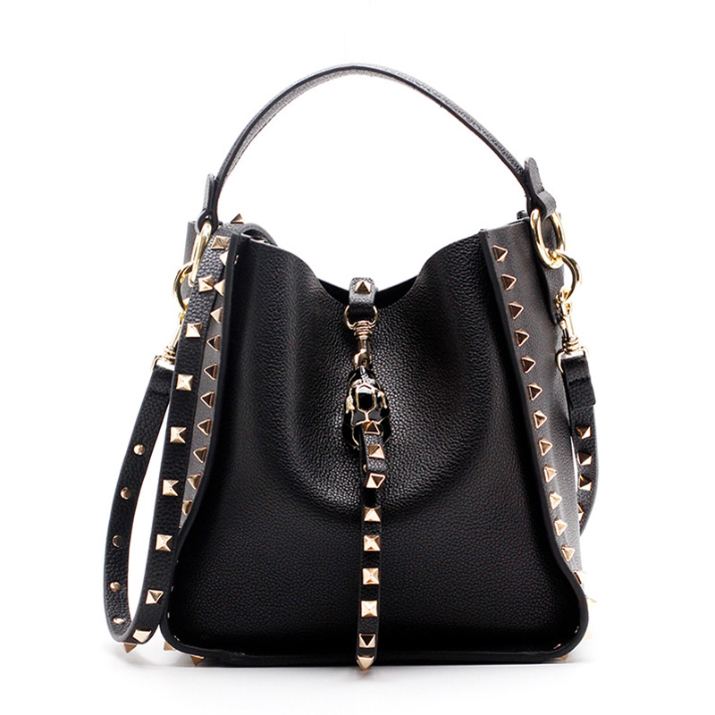 Luxury handbags women bags designer Women's Bucket Bag Genuine Leather Ladies Handbag Rivet Female Shoulder Bag Small 40X0001 ladies genuine leather handbag 2018 luxury handbags women bags designer new leather handbags smile bag shoulder bag