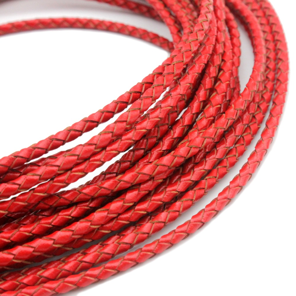 1 Yard 3mm Round Red Braided Leather Bolo Cord For Necklace And Bracelet Making Jewelry Beading Cord BP3M65