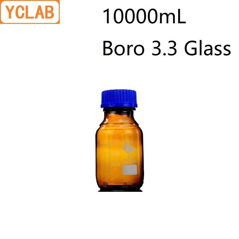 YCLAB 10000mL Reagent Bottle 10L Screw Mouth with Blue Cap Boro 3.3 Glass Brown Amber Laboratory Chemistry EquipmentYCLAB 10000mL Reagent Bottle 10L Screw Mouth with Blue Cap Boro 3.3 Glass Brown Amber Laboratory Chemistry Equipment