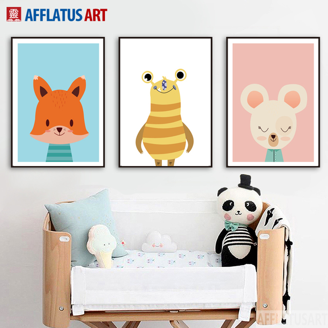 Afflatus rabbit fox bee wall art canvas painting posters and prints nordic poster wall pictures nordic