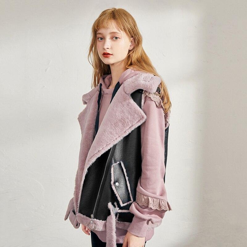 Fashion Lapel Women's Vest Autumn Winter Sleeveless Leather Jacket Women Thick Lining Fur Coat 2019 New Winter Vest Biker Jacket