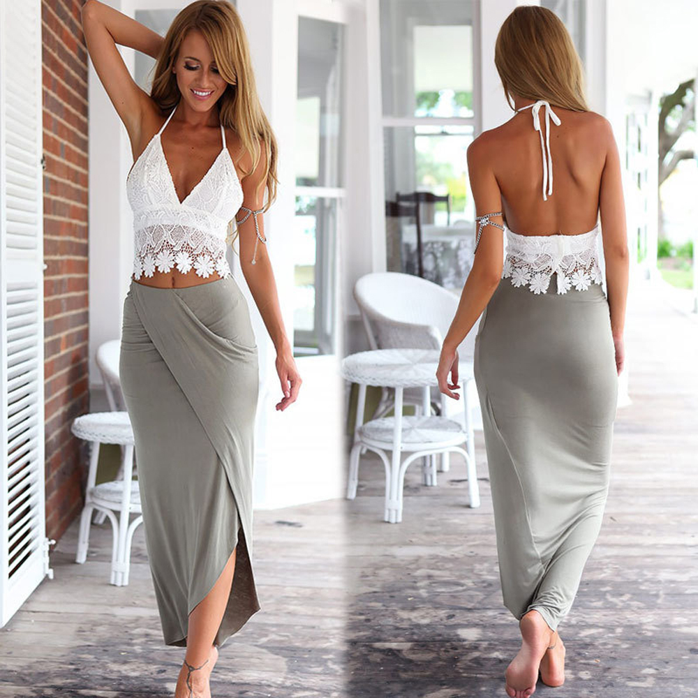 Hot 2016 Sexy 2 Piece Set Women Halter Crop Top  High -2205