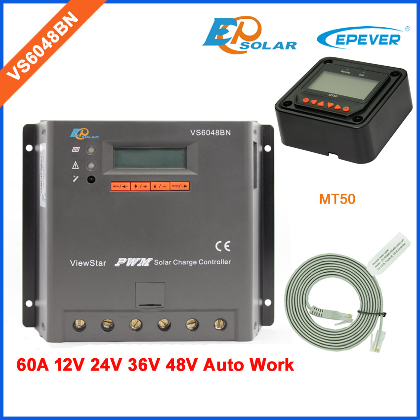 VS6048BN built in LCD display screen 60A solar power regulator PWM New series free shipping 60amp with MT50 remote meter solar power charger regulator tracer5206bp with mt50 remote meter in black color 12v 24v auto work 20a 20amp free shipping