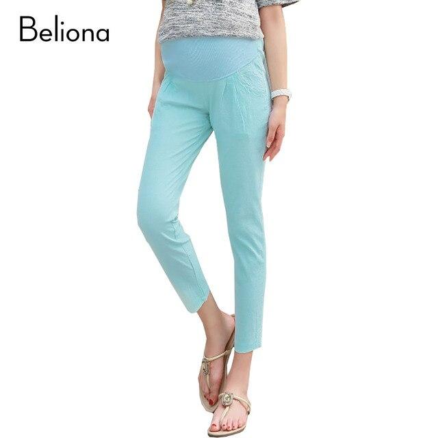 44b4c9bdb 7 Colores Nueva Primavera de Algodón de Lino Pantalones de Cintura Alta  Lavan Pantalones Capri para
