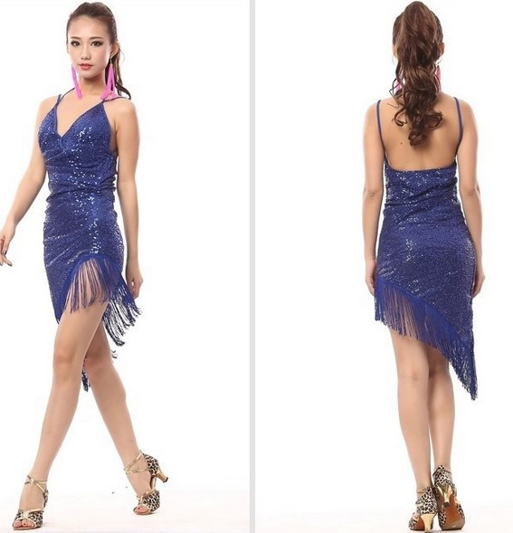 Women Performance latin dance clothes senior mesh sequins latin dance dress girls latin dance skirt latin dancing dresses 2