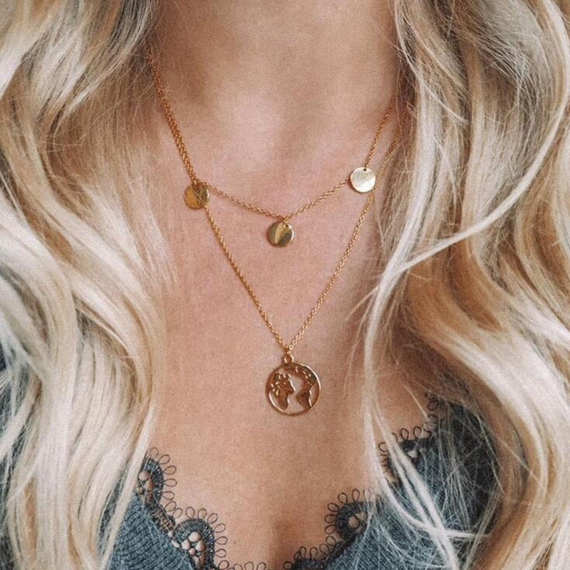 World Map Pendant Necklace For Women Golden Silver Color Round Global Earth Jewelry Double Layer Coin Necklace Dropshipping