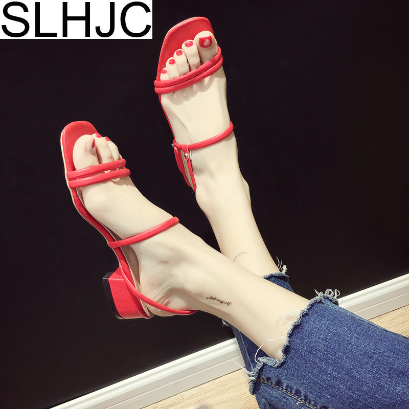 SLHJC Summer Leather Sandals Women Med Heel Open Toe Slippers Slip On Casual 2018 Female Newest Pumps Sandals 4 CM Heel