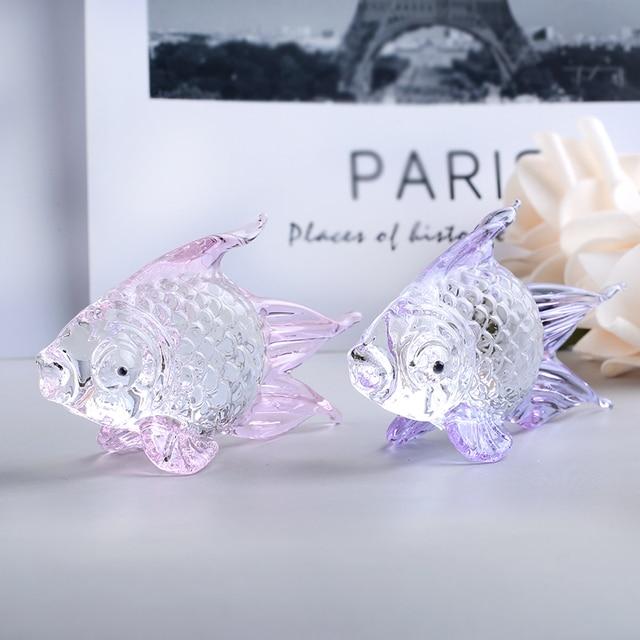 Handmade Crystal Goldfish Figurine Model Miniature Animal Crystal Crystal Glass Ornament Home Decor Gift Kids Room Decoration 3