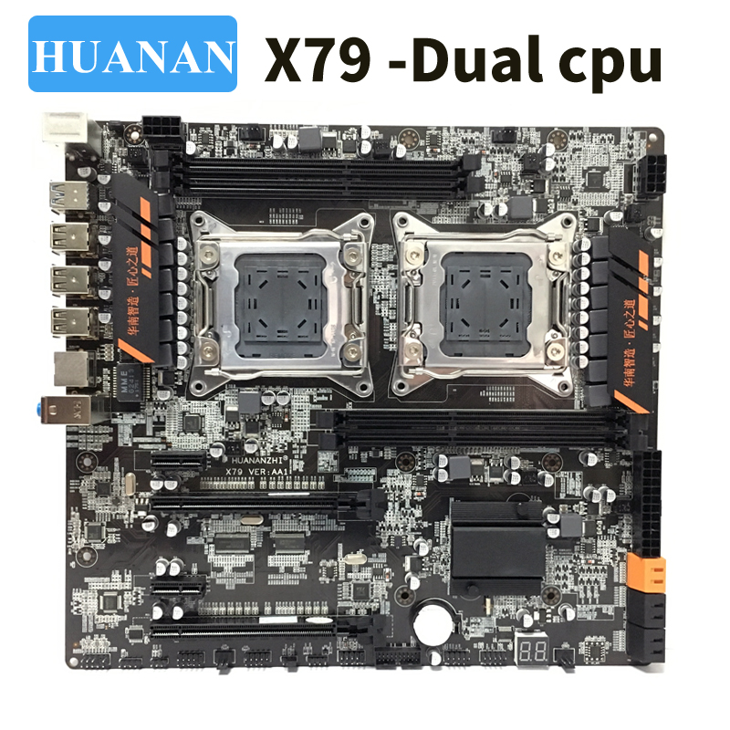 HUANAN huananzhi X79 dual CPU LGA2011 LGA 2011 placa base con procesador dual DDR3