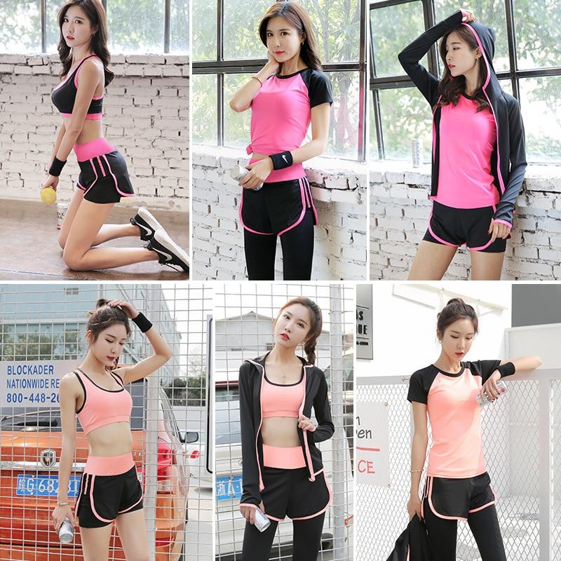 2018 Women 5Piece Yoga Set Gym font b Fitness b font Clothes Sport TShirt Running Long