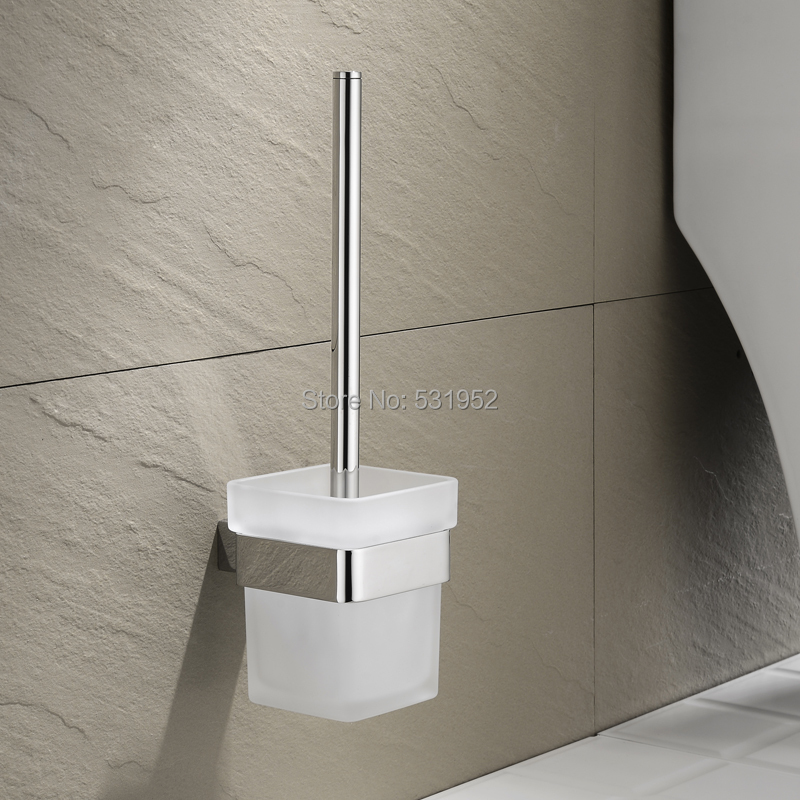 Square Bathroom Toilet Brush With Holder Glass Cup Wall Mount Contemporary Style Toilet Brush Polished Bathroom Accessories