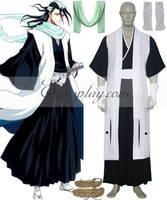 65% cotton+35% polyester Japanese Anime Outfit Bleach 6th Division Captain Kuchiki Byakuya Cosplay Costume E001