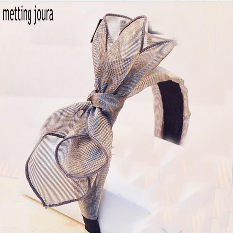 Metting Joura Bohemian Vintage Lace Big Double Bow Wide Headband Hairband Hair Accessories metting joura vintage bohemian ethnic colored seed beads flower rhinestone handmade elastic headband hair band hair accessories