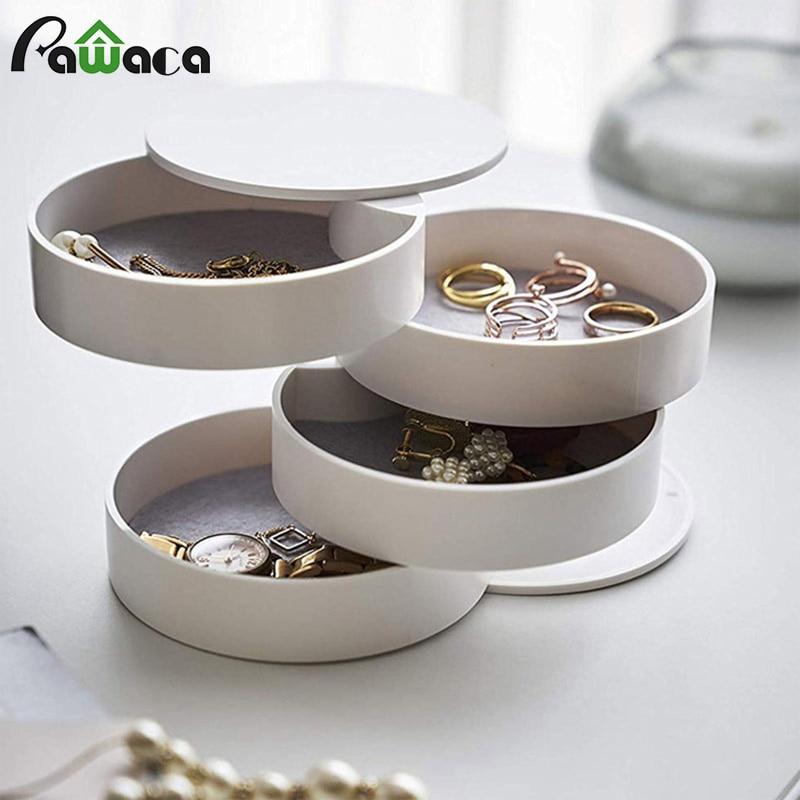 51e0d6e16b11 4 capas caja de almacenamiento de joyería 360 grados soporte rotativo  organizador de joyería para pendientes pulsera de goma artículos pequeños  ...