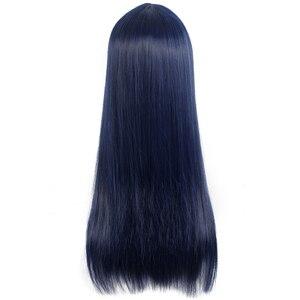 Image 3 - L e mail perücke Sora keine Methode Shione Togawa Cosplay Perücken Lange Blau Schwarz Gemischte Farbe Cosplay Perücke Hitze Beständig synthetische Haar