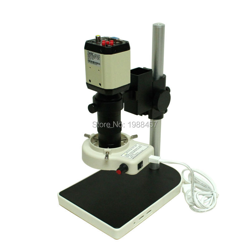 2.0MP HD Industrial Digital Microscope Camera VGA CVBS USB AV TV Outputs+8X-130X Optical C-mount Lens+LED Lights+Holder free shipping 2 0mp 30fps 1080p hdmi vga dual output digital industrial microscope camera 8x 130x optical c mount lens