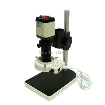 2.0MP HD Industrial Digital Microscope Camera VGA CVBS USB AV TV Outputs+8X-130X Optical C-mount Lens+LED Lights+Holder