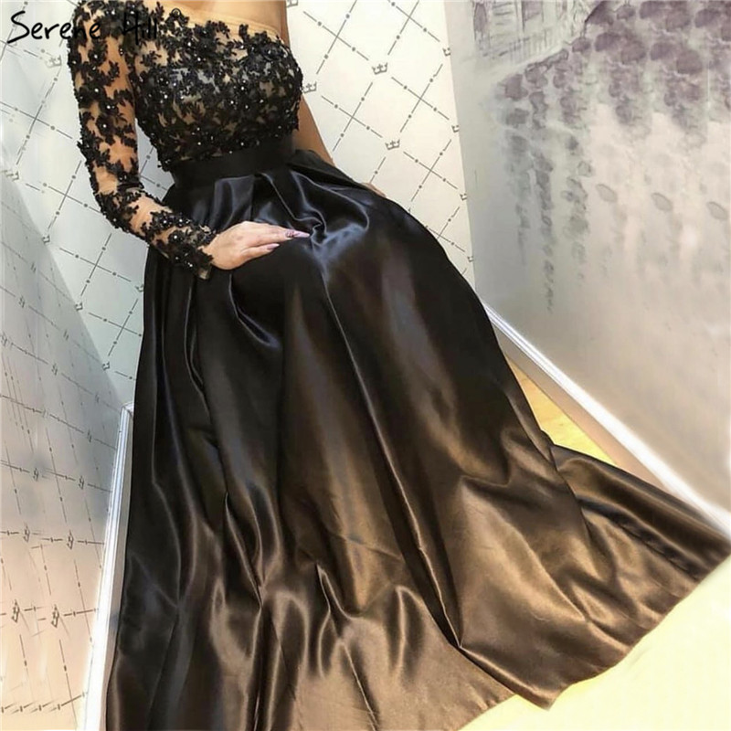 Black Off Shoulder Sexy A-Line Evening Dresses 2019 Handmade Flowers Crystal Satin Evening Gowns Serene Hill LA70038