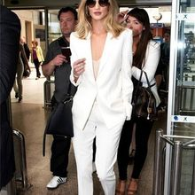 Fashion White Pants suit Women Ladies Formal Business Office 2 Piece Jacket+Pants Suits Custom Made