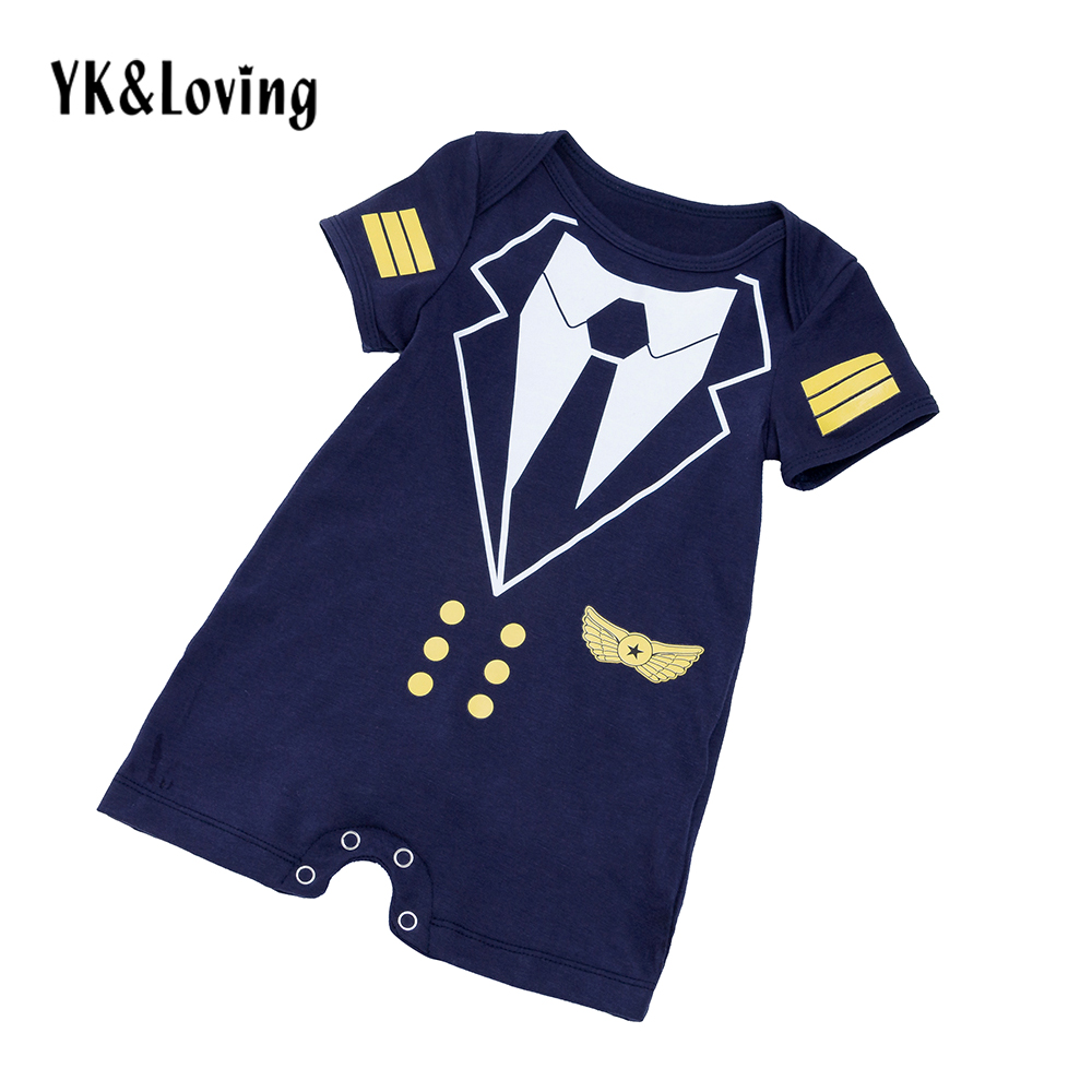 Boys Short Sleeve Rompers Cosplay Pilot uniforms Cotton Newborn Tie Baby Clothes Toddler Jumpsuit For 3-24 month clothes new 2017 brand quality 100% cotton newborn baby boys clothing ropa bebe creepers jumpsuit short sleeve rompers baby boys clothes