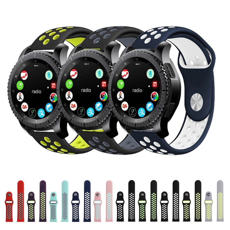 Double Color Silicone Watchband Strap For Samsung Gear S3 Smart Sports Watch High Quality jansin 22mm watchband for garmin fenix 5 easy fit silicone replacement band sports silicone wristband for forerunner 935 gps