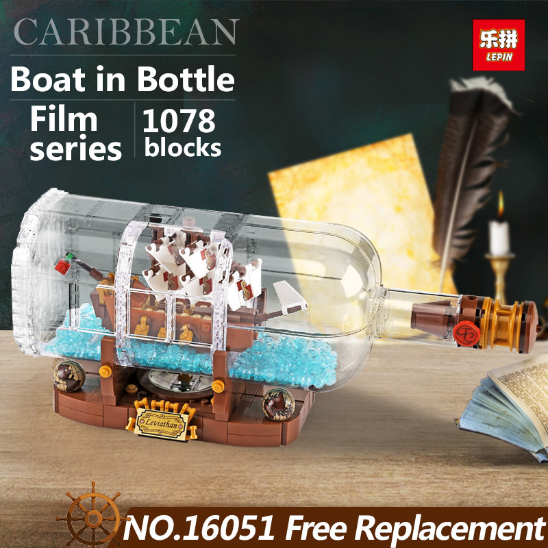 Lepin 16051 New Toys 1078Pcs Movie Series The 21313 Ship in a Bottle Set Building Blocks Bricks funny film kids Birthday Gifts lepin 16051 1078pcs movie series the 21313 pirate ship in a bottle set building blocks bricks toys birthday gifts