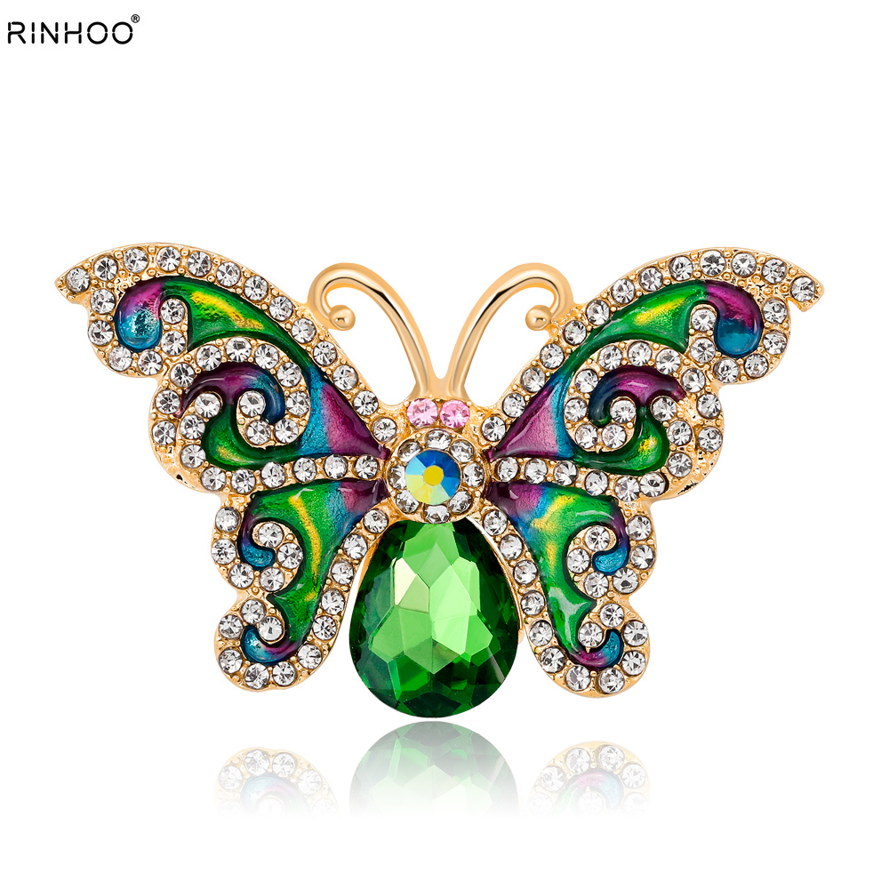 New Colorful Crystal Rhinestone Brooch Pins Enamel Beautiful Butterfly Broches For Women Girls Suit Party Clothes Gift Jewelry