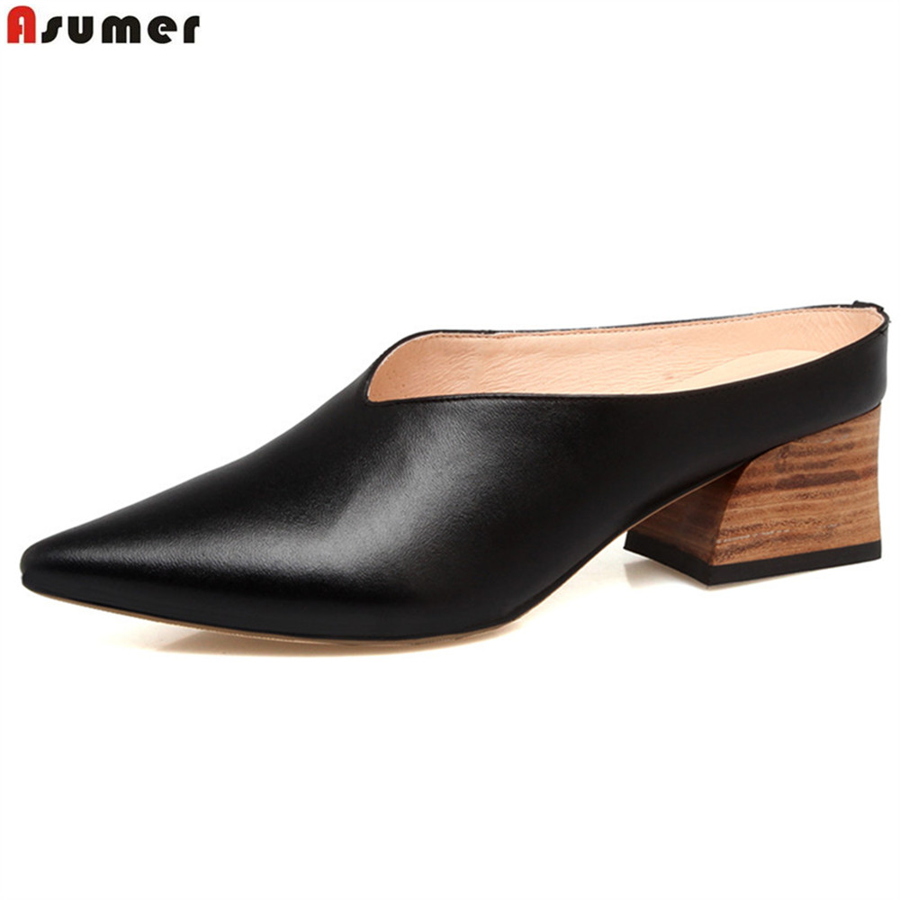 Asumer black white fashion pointed toe casual spring autumn square heel spring autumn women genuine leather high heels shoes asumer black white fashion spring autumn ladies single shoes pointed toe square heel women genuine leather med heels shoes