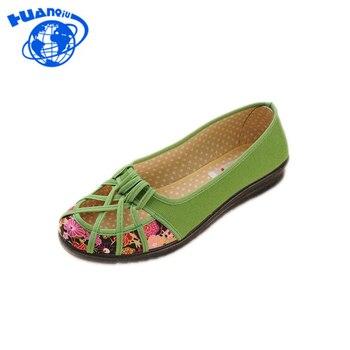 740cc48f7431 HUANQIU 2018 Plus Size 35-41 Summer New Brand Women Flats Shoes Women  Canvas Shoes