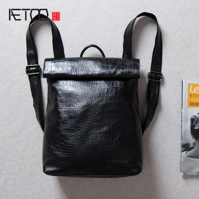 AETOO The first layer of leather fashion shoulder bag crocodile pattern leather bag men and women models Europe and the United S aetoo leather men bag wild european and american first layer of leather men s shoulder bag trend backpack