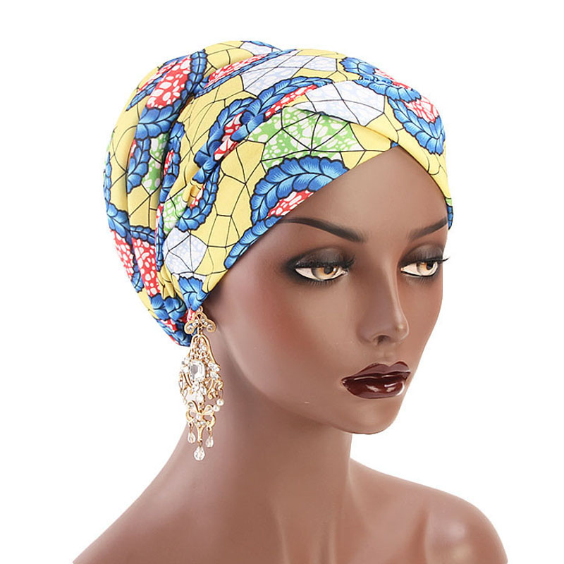 New Bohemian Printed Turban Cap Sponge Muslim Hat Ethnic Costume Hat Chemotherapy Cap Female Bandanas   Headwear   Hair Accessories