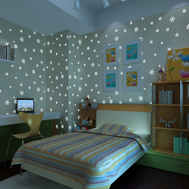 Environmentally Friendly Luminous Non Woven Wallpaper Kids 3D Embossed  Romantic Snowflake Fluorescent Girl Bedroom Wallpaper In Wallpapers From  Home ...