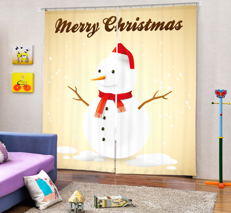 Christmas Snowman 3D Painting Blackout Curtains Office Bedding Room Living Room Sunshade Window Curtain Bedding Custom-made SizeChristmas Snowman 3D Painting Blackout Curtains Office Bedding Room Living Room Sunshade Window Curtain Bedding Custom-made Size