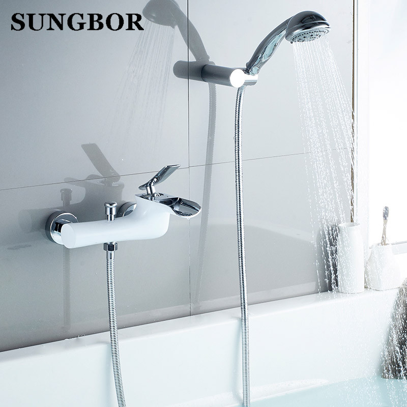 Brass Bath & Shower Faucet chrome and White finished wall mounted bathtub faucet exposed B&S waterfall bathroom faucet YS-8116B hpb brass chrome finished thermostatic faucet bathroom shower faucets wall mounted bathtub mixer bath set fashion style hp5201