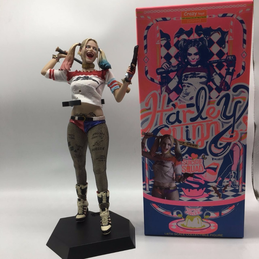 28cm Crazy Toys Real Clothes Version Suicide Squad Harley Quinn PVC Action Figure Collectible Model Toy Doll Gift Brinquedos lapel pea coat in wool blend
