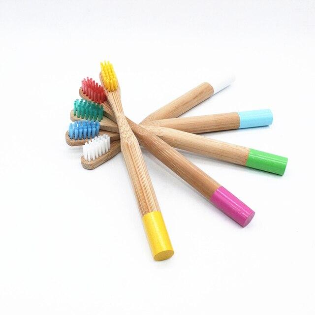 10 unids/set cepillo de dientes de bambú Arco Iris 5 colores mango redondo de bambú para niños Tandenborstel mango de madera cepillo de dientes de bajo carbono