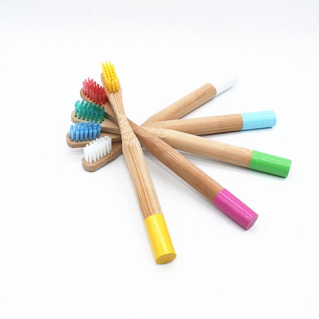 10Pcs/sets Rainbow Bamboo Toothbrush 5 Colors Round Bamboo Handle Child Tandenborstel Wooden Handle Low carbon Toothbrush