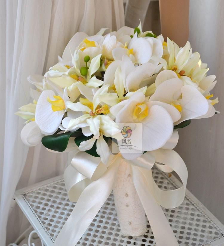 Fleur artificielle colle fleur de soie phalaenopsis mariée tenant des fleurs fleur de mariage