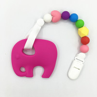 Factory Wholesale Baby Pacifier Holder Clips Baby Teething Pacifier Clip With Elephant Teether Toys Siliocne Rainbow