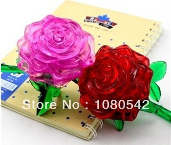 Rose 3D Puzzle DIY Crystal funny hot toys puzzles for girls rose