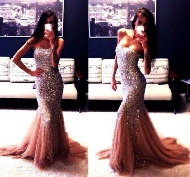 Modest Sparkle Crystals Beaded Mermaid long   Prom     Dresses   2015 Evening Special Occasion Gowns Vestido Formals vestidos para festa