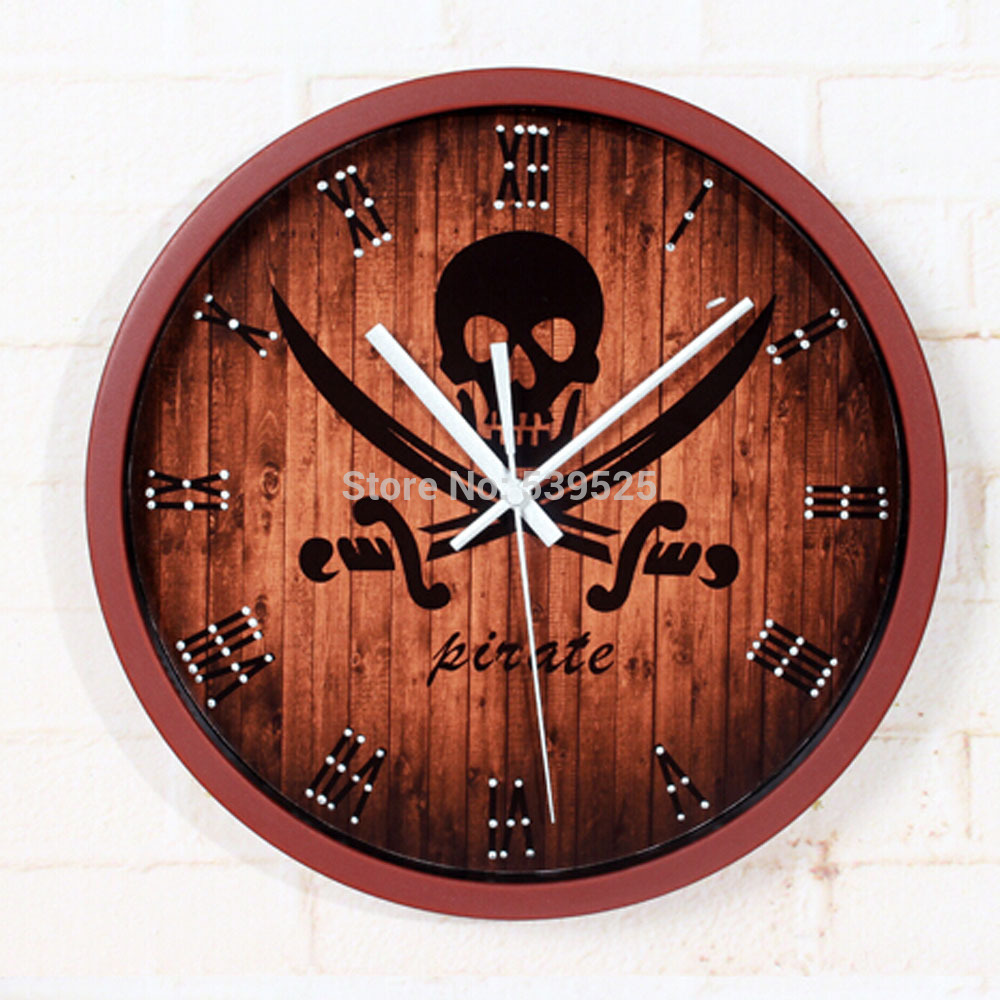 3 Colors Round Pirate 3d Wall Clocks Large Wall Clock Modern Design