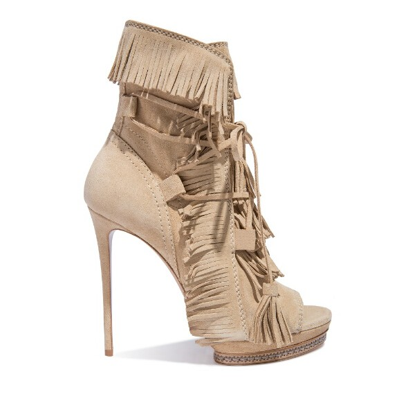 Summer Beige Suede Fringed High Heel Ankle Boots Open toe Lace-up Ankle Boots Summer Fashion Tassel Gladiator Sandal Boots gullick beige suede fringed high heel ankle boots open toe lace up ankle boots fashion tassel gladiator sandal boot womans