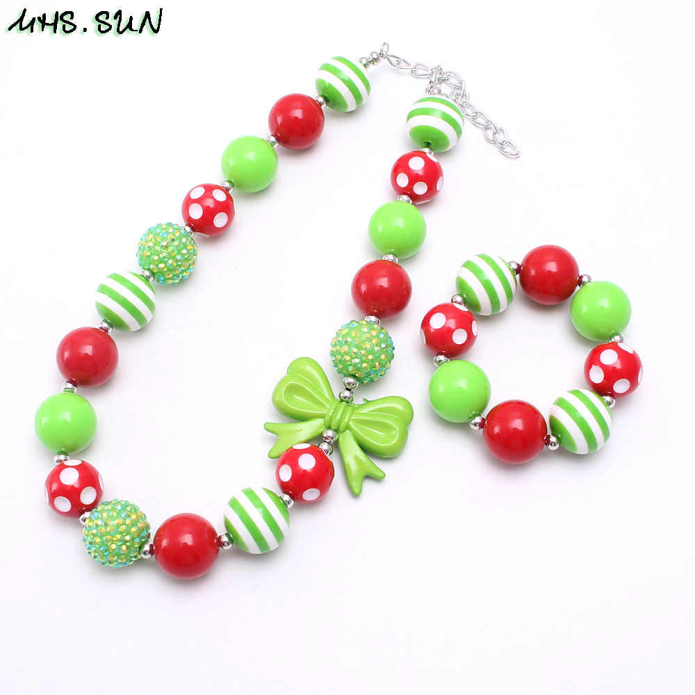 MHS.SUN Newest Christmas Gift Red+Green Bubblegum Beaded Necklace Bracelet for Baby Girls Chunky Chain Necklace Handmade Jewelry