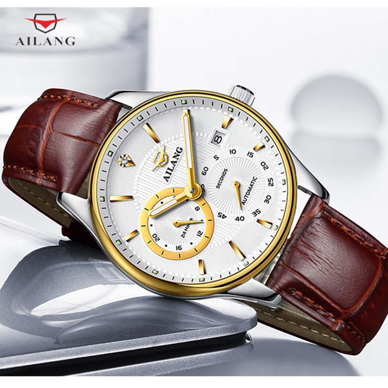 все цены на AILANG Simple Fashion Mechanical Wrist Watches Stainless Steel Automatic Waterproof Leather Watchbands Ultra-thin Relojes A250 онлайн